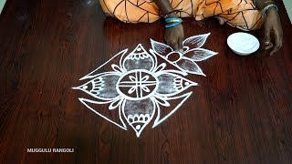 Beautiful freehand flower kolam Latest Flower kolam Beutiful muggulu  Latest  rangoli muggulu