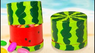 DIY Miniature Water Melon Gift Box | Toilet Paper Roll Craft Ideas for Kids on Box Yourself