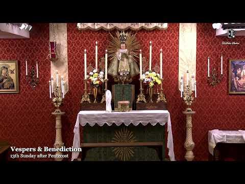 Vespers & Benediction: 7 PM EASTERN TIME (ET)