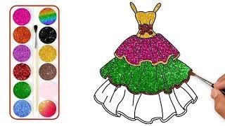 Vẽ và tô màu Váy công chúa đáng yêu