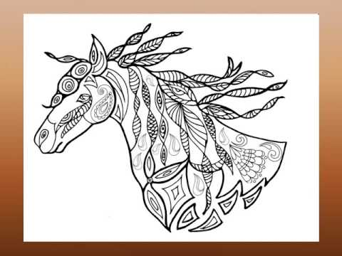 An Adult Coloring Book: Horses Plus by Jeanette Roycraft - YouTube