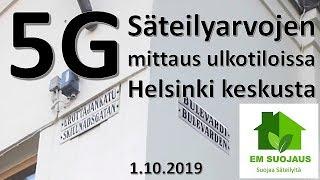 5G säteilymittaus ulkotilassa Helsingin keskustassa 1.10.2019 - säteilyn huippuarvo 1.999 µW/m2