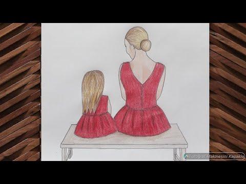 ANNELER GÜNÜNE ÖZEL Anne Kiz Çizimi ❤mother's day special mother daughter drawing