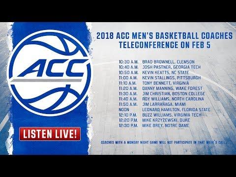 ACC Men's Basketball Coaches Teleconference - 2/5/18