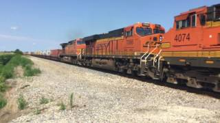 BNSF 6597 leads a monster 16,000 ft stack train with 10 engines west through Ancona, IL 07/23/17