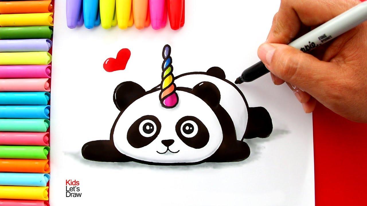 Como Dibujar Un Oso Panda Unicornio Facil Pandacornio Youtube