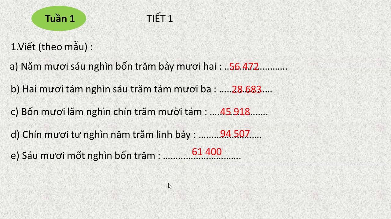 giải thực hành toán lớp 4 tập 1 trang 8 tuần 1 tiết 1