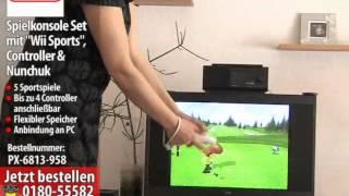 """Nintendo Wii Spielkonsole Set mit """"Wii Sports"""", Controller & Nunchuk"""