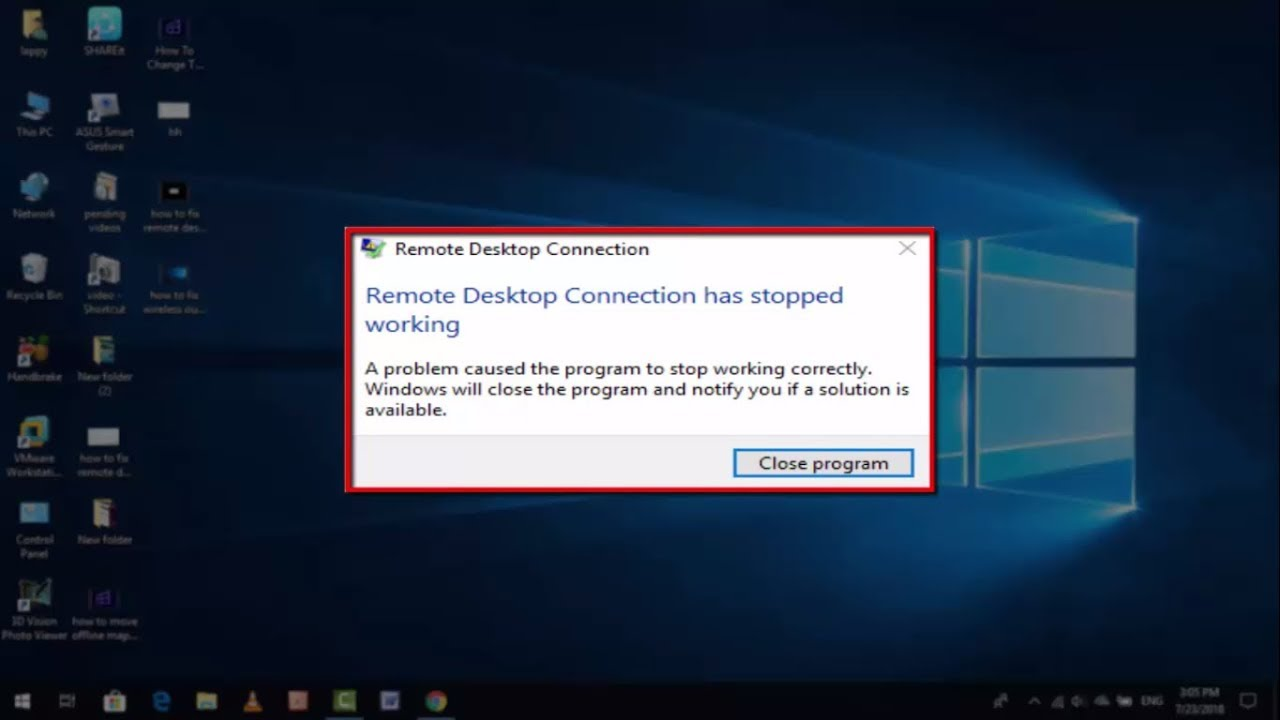 How to Fix Remote Desktop Connection Has Stopped Working Error in Windows 10