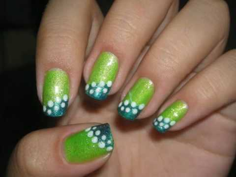 Nail Design Tutorial Green And Blue Nails Youtube