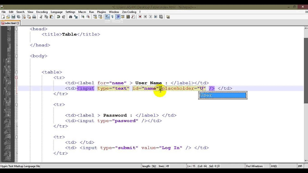 Html input types and table class 6