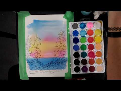 Flowers/ Easy Watercolor Landscape for beginners / Relaxing Demo/ Art Therapy / Video 2