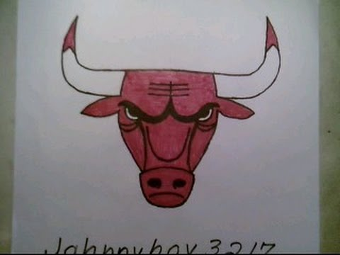 How To Draw  Chicago Bulls Logo #3 Sign Easy Step By Step Tutorial Challenge
