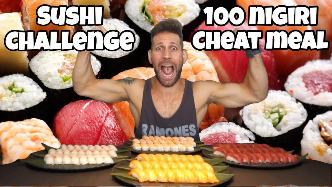 SUSHI 100 nigiri challenge - MAN VS FOOD - Italiano Cheat Day (ENG SUB)