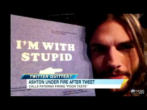 Ashton Kutcher Faces Twitter Backlash Over Penn State Joe Paterno Tweet