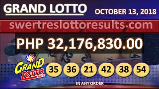 PCSO LOTTO RESULTS OCTOBER 13 2018 9PM all draw