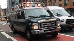 SENIOR CARE EMS AMBULANCE RESPONDING ON 1ST AVENUE IN KIPS BAY AREA OF MANHATTAN IN NEW YORK CITY.