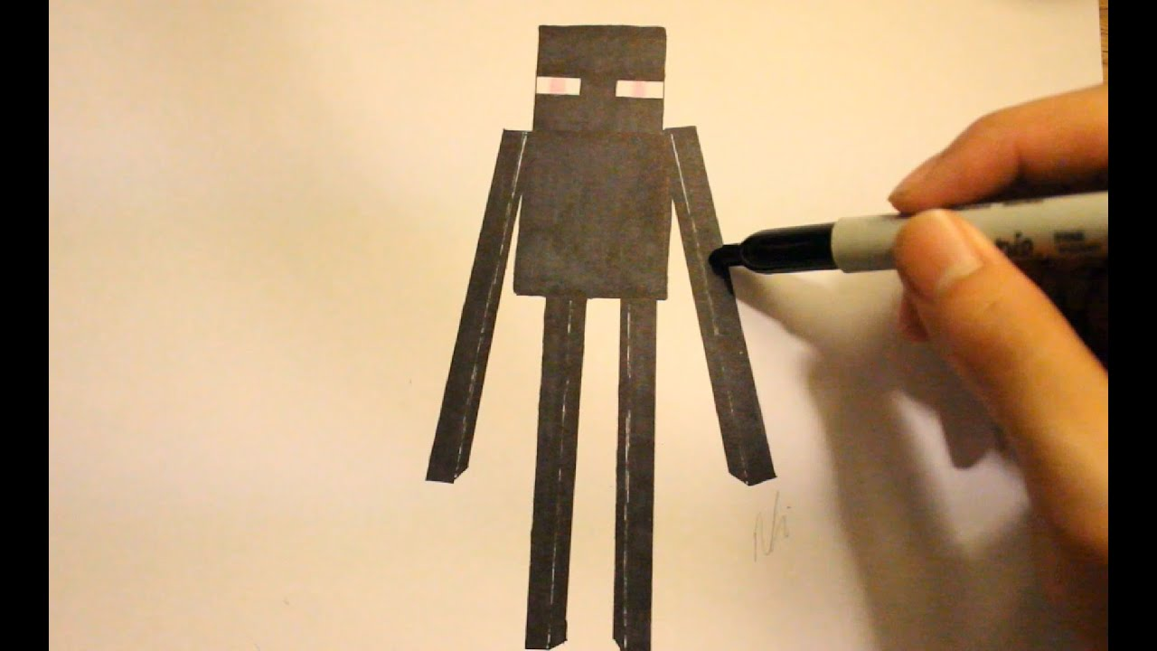 Image of: Wolf How To Draw Enderman From Minecraftstep By Stepminecraft Drawings And Minecraft Character Enderman Youtube How To Draw Enderman From Minecraftstep By Stepminecraft Drawings