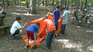 Cub Scouts Pitching a Pup Tent Without Instructions