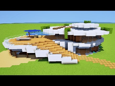 Minecraft tuto maison moderne originale youtube for Plan maison minecraft moderne