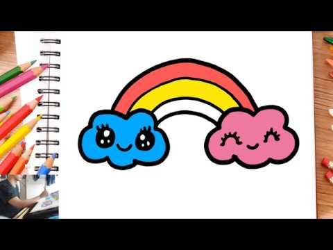 Dessin Et Coloriage Arc En Ciel Kawaii Pour Enfants Dessin Kawaii Dessin Facile Youtube