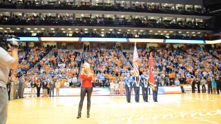 Rachel Holder sings National Anthem at Lady Vols Basketball Game