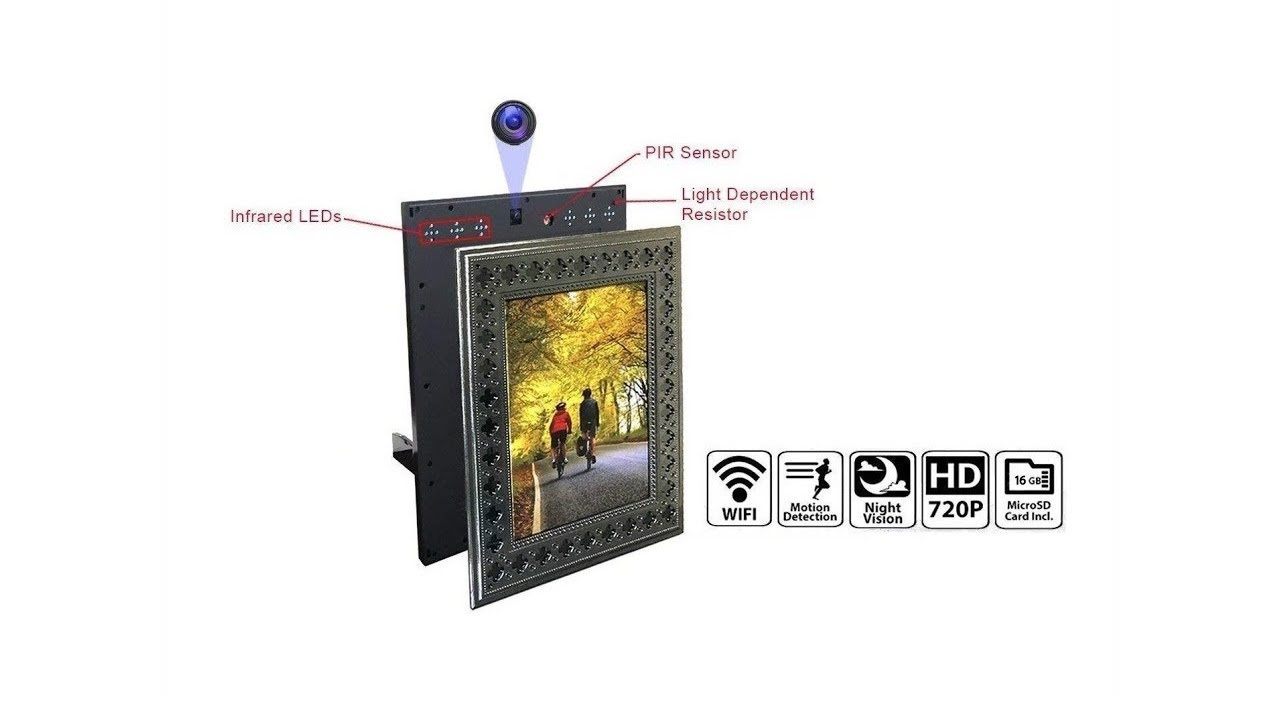 Nucam Wifi Photo Frame Hidden Spy Camera For Home Office Security