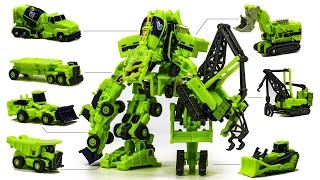 Transformers Green Color Constructicon EZ Devastator 7 Robot Combine Vehicle Transformation Car Toys
