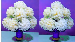 गुलदस्ता / (DIY)-NEW DESIGN FOAM GULDASTA/WASTE PLASTIC BOTTLE FLOWERPOT/VASE/FOAM GULDASTA/FOAM
