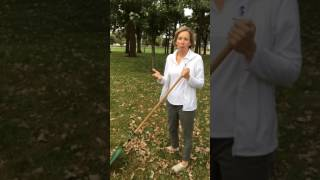 Ergonomic ways to rake up leaves in the Fall as explained by Shelly Deutmeyer PTA.