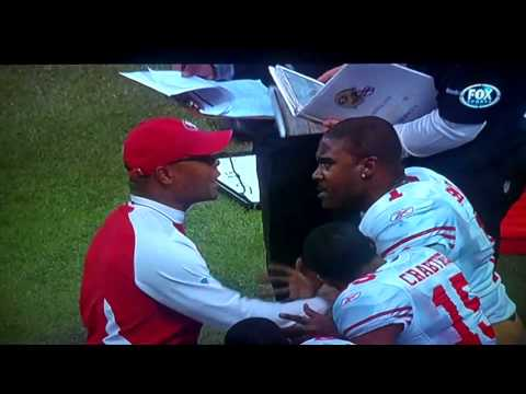 Mike Singletary and Troy Smith Sideline Argument