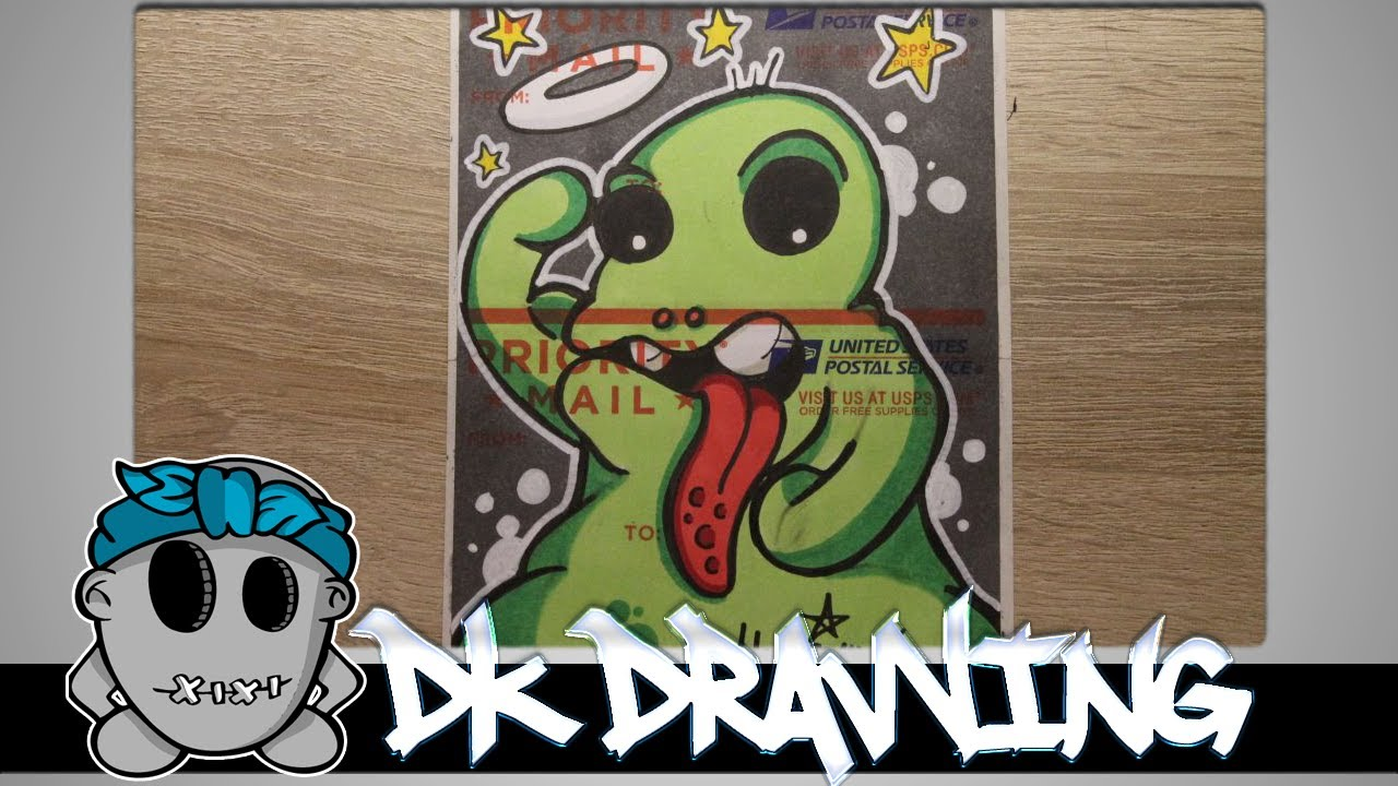 How to draw a graffiti character on USPS sticker blank