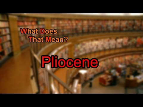 What does Pliocene mean?