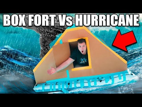 BOX FORT BOAT VS HURRICANE CHALLENGE! 📦💧