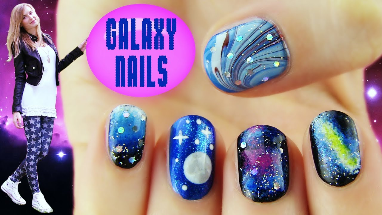 Galaxy Nails! 5 Galaxy Nail Art Designs & Ideas - YouTube