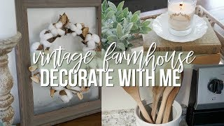 DECORATE WITH ME USING THRIFTED/ YARD SALE FINDS!   VINTAGE FARMHOUSE DECOR!