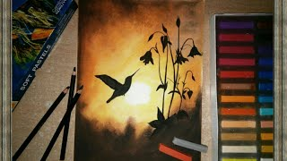 Soft pastels drawing - sunset scenery - for beginners easy tutorial step by step