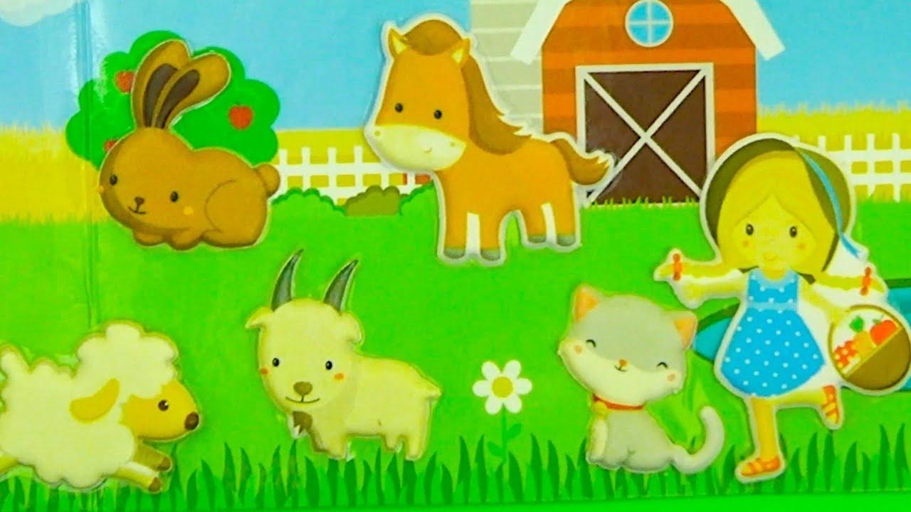 Мультик из детских наклеек, учим животных
