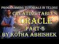 Creating Tables in Oracle in telugu