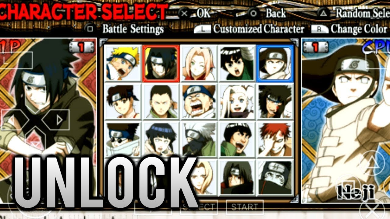 Naruto Ultimate Ninja Heroes - How to Unlock all Characters PPSSPP