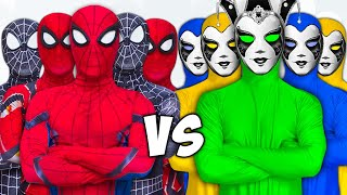 SUPERHERO vs COLOR TEAM | Spider-Man Fighting BLUE-MAN and GREEN-MAN | Người Nhện giải cứu Venom