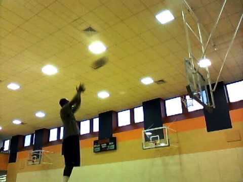 Keith Simpson in the gym getting some shots up.