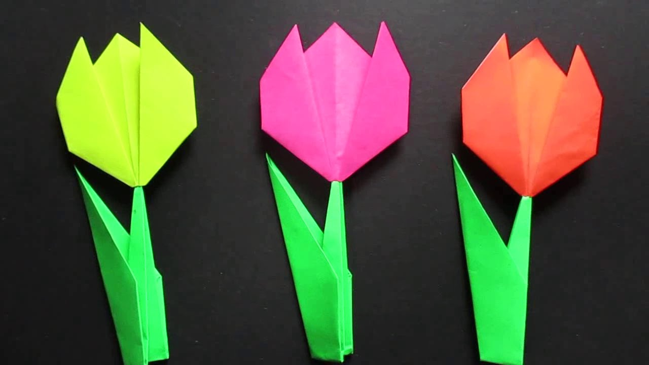 Tulip Flower Easy Origami Tulip Flower Instructions Youtube