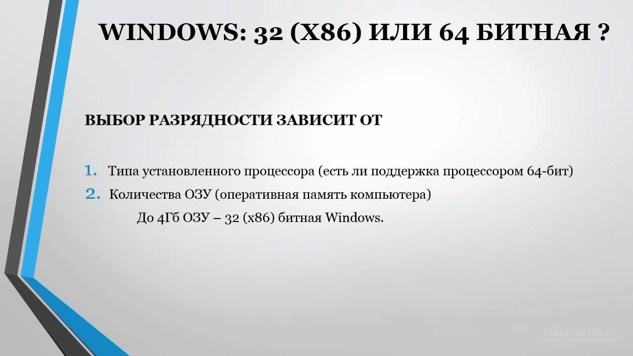 Выбор между 32-разрядными и 64-разрядными версиями Windows