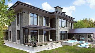 Проект дома из серого кирпича