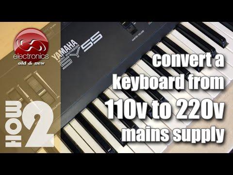 Convert a 110v mains Yamaha SY55 Synth to 220v mains - USA to EU.