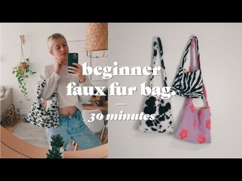 Beginner Sewing: Faux fur tote bag tutorial *make it in 30 minutes - YouTube