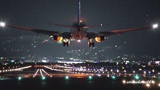 飛行機離着陸 大阪伊丹空港 千里川堤防 スカイパーク伊丹 スカイランドHARADA | Amazing Night Plane spotting in Osaka Itami Airport thumbnail
