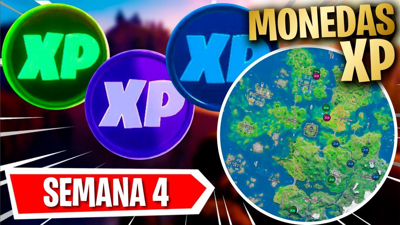 TODAS las Ubicaciones las MONEDAS de XP en Fortnite TEMPORADA 3 Semana 4 - [HacheMuda]