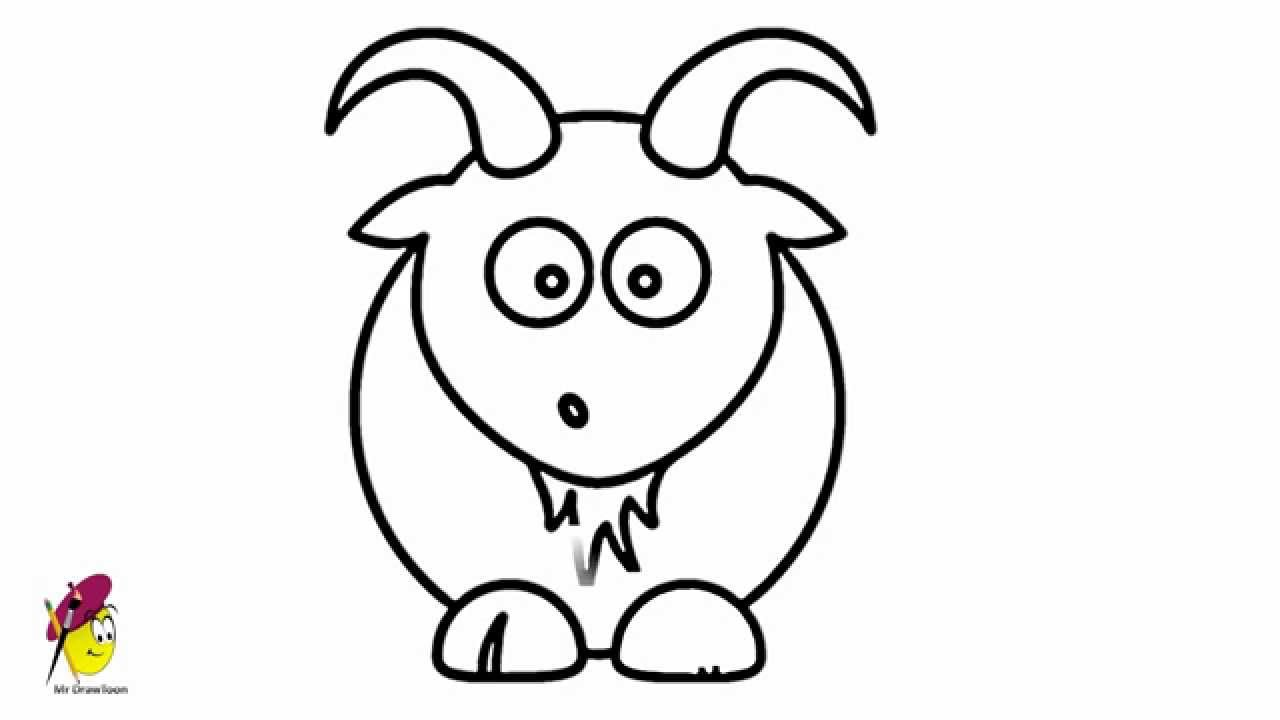 Goat Cartoon Easy Drawing How To Draw A Goat Youtube